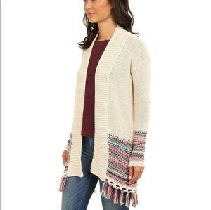 Roxy   Cream Multicolor Fringe Cardigan Sweater S